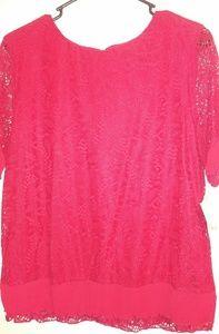 Liz claiborne red lace blouse